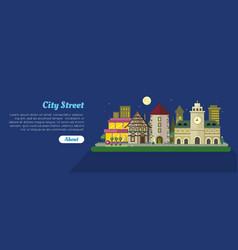 night city street day flat banner vector image