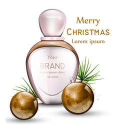 perfume bottle realistic with golden vector image