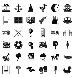 Playground for children icons set simple style vector