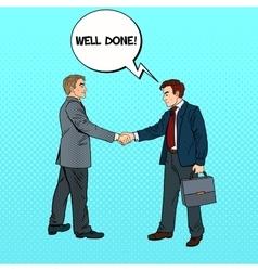 Pop Art Businessmen Shaking Hands vector image