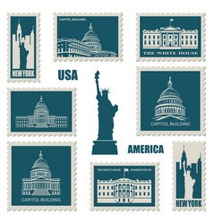 Postage stamps with american symbols vector