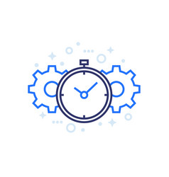productivity line icon with stopwatch and cogs vector image