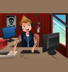 radio dj working in a radio station vector image