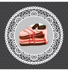 raspberry cake on doily vector image