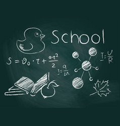 School board with inscriptions and drawings with vector