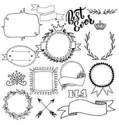 Set of hand drawn badges frames and lettering vector