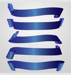 Set of horizontal blank blue ribbon banner vector