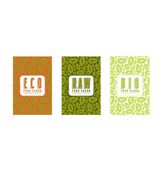 set of seamless pattern and labels for vegan food vector image