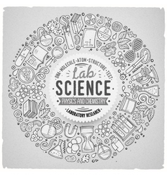 Set science cartoon doodle objects symbols and vector