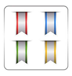 Silver colored banners set vector
