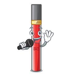 Singing lip gloss in dompeet mekaup cartoons vector