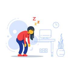 Sleepy woman sleep deprived boring work vector