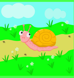 snail in the meadow vector image