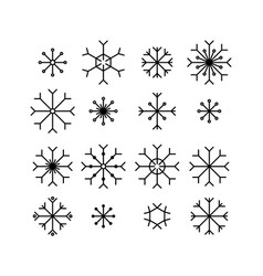 snowflake icons set isolated on white background vector image