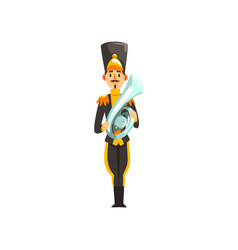 Soldier in black uniform playing french horn vector