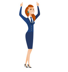 stewardess standing with raised arms up vector image