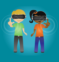 students touching virtual reality hologram vector image