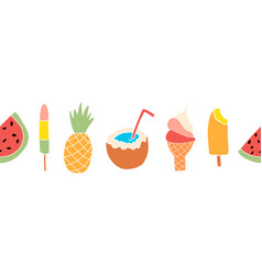 summer treats seamless border repeating vector image