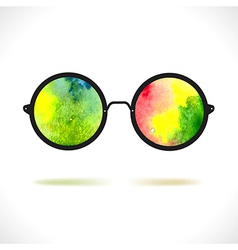 Sun glasses with reflection of colorful watercolor vector