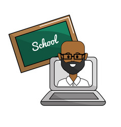 Teacher with class online to student knowledge vector