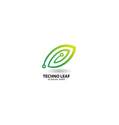 Technology leaf logo design icon vector