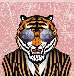 Tiger in a striped jacket and sunglasses vector