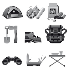 tourism equipment icon gray vector image