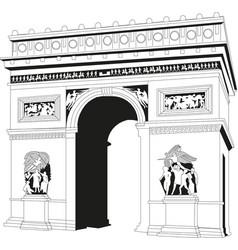 Triumphal arch in paris france vector