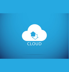 Up and down arrows in cloud backup concept vector