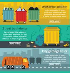 urban trash work banner horizontal set flat style vector image