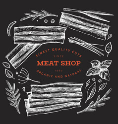 Vintage meat on chalk board hand drawn bacon vector