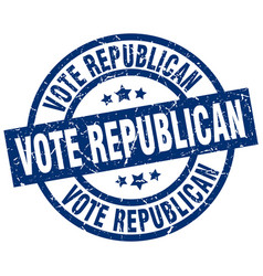 Vote republican blue round grunge stamp vector