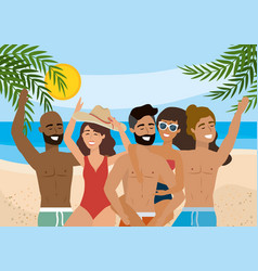women and men wearing bathing shorts and swimsuit vector image