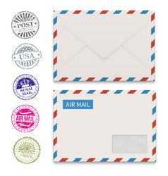 envelopes and grunge post stamps isolated on white vector image