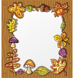 frame with autumnal nature symbols vector image vector image