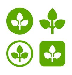 green leaf logo set eco sign vector image vector image