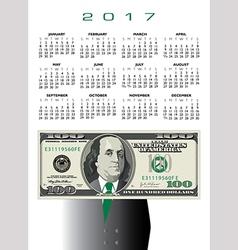 2017 whimsical money calendar vector image vector image