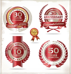 Anniversary retro red labels vector image