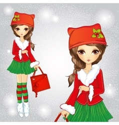 Cute Fashion Girl In Santa Claus Cat Hat vector image