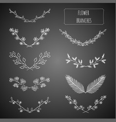 hand drawn floral set vector image