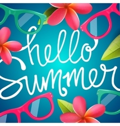 Hello summer colorful background with frangipani vector
