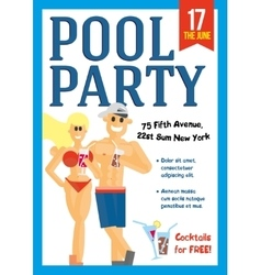 Pool Party Template for poster design vector image