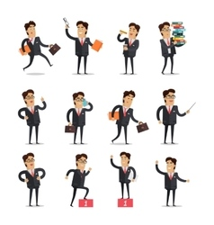 Set of Businessman in Different Poses vector image vector image
