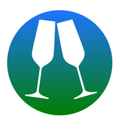 sparkling champagne glasses white icon in vector image