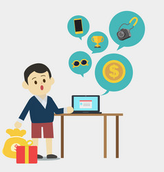 young man using laptop to find product vector image vector image