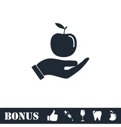 Apple in hand icon flat vector image