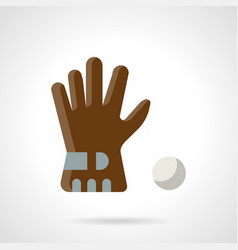 brown glove and ball flat color icon vector image
