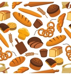pattern of bread and bakery products vector image