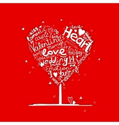 Valentine tree heart shape for your design vector