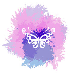 butterflies silhouette on a abstract watercolor vector image